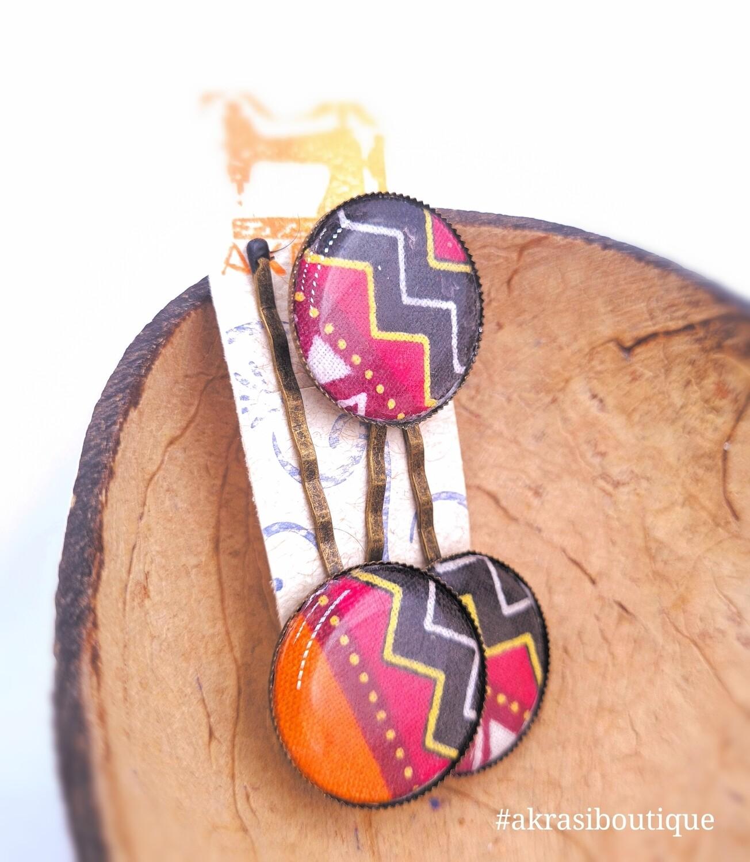 Dashiki orange hair pin set in silver   African Bobby pin   Ankara hair slide
