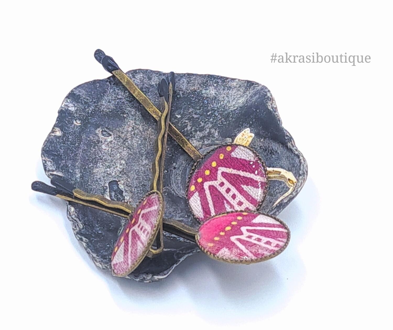 Dashiki hair pin set in silver   African Bobby pin   Ankara hair slide
