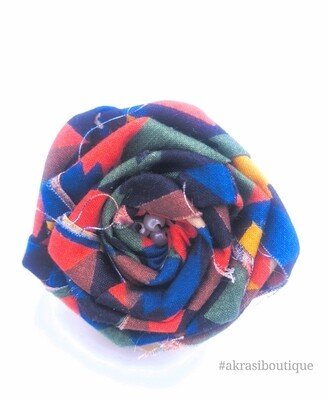 Blue, green and red rose flower with pearl centre | flower pin | flower hair clip | flower brooch | clothing accessories