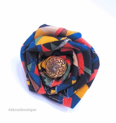 Blue, green and red rose flower with vintage button centre | flower pin | flower hair clip | flower brooch | clothing accessories