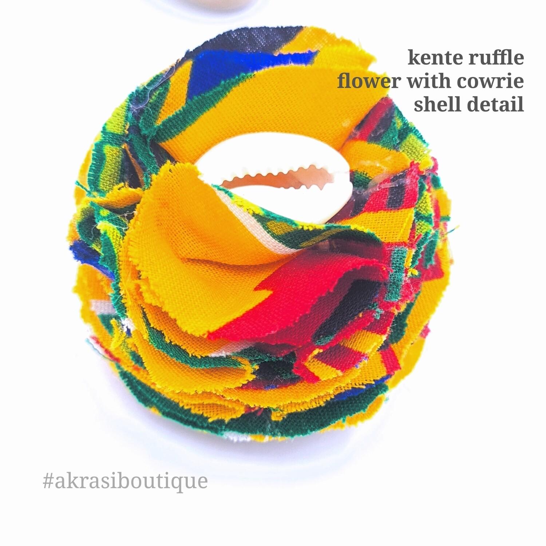 Kente print carnation ruffle flower   kente flower with cowrie shell centre  flower pin   flower hair clip   flower brooch   clothing accessories