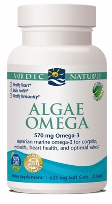 Algae Omega Vegetarian EPA, DHA, and Omega 3 - 60 Softgels