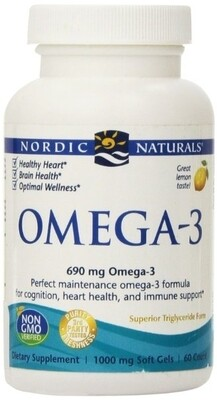 Omega-3 Purified Fish Oil Lemon - 60 Capsules