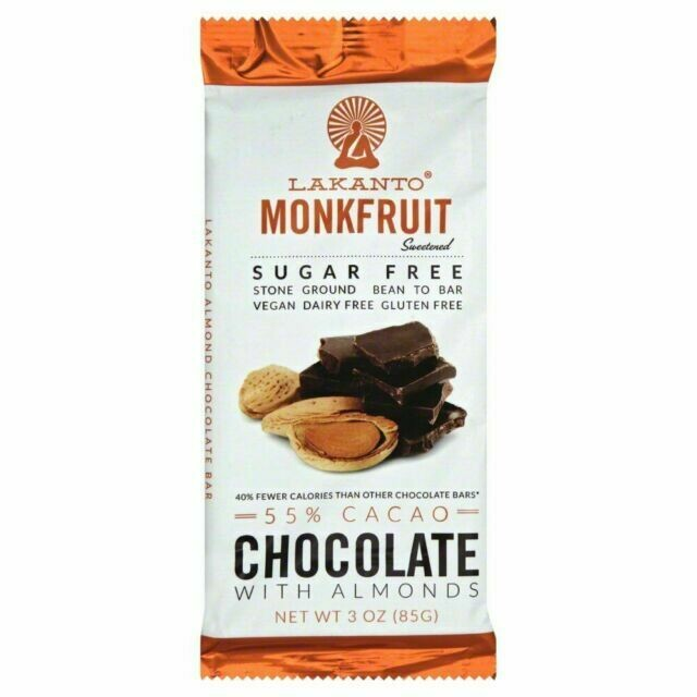 Lakanto Monkfruit 55% Cacao Chocolate Bar with Almonds - 3 oz.