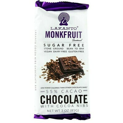 Lakanto Monkfruit 55% Cacao Chocolate Bar with Cacao Nibs-  3 oz.