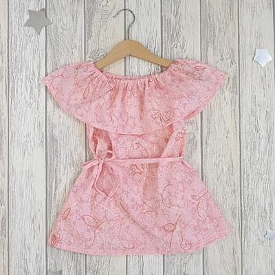 Платье с пояском ЭВЕЛИНА, батист, персик