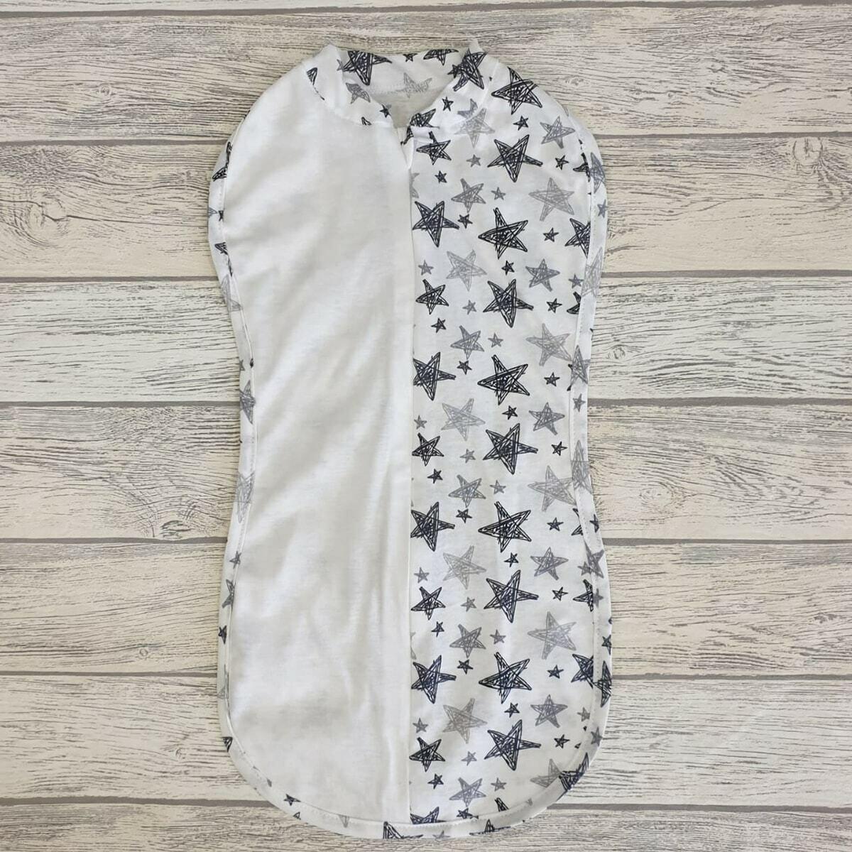 Спальный мешок-кокон, тонкий трикотаж, рисованные звезды