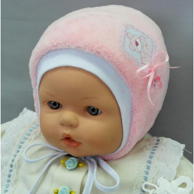 Шапочка для новорожденной девочки Кнопик, розовый