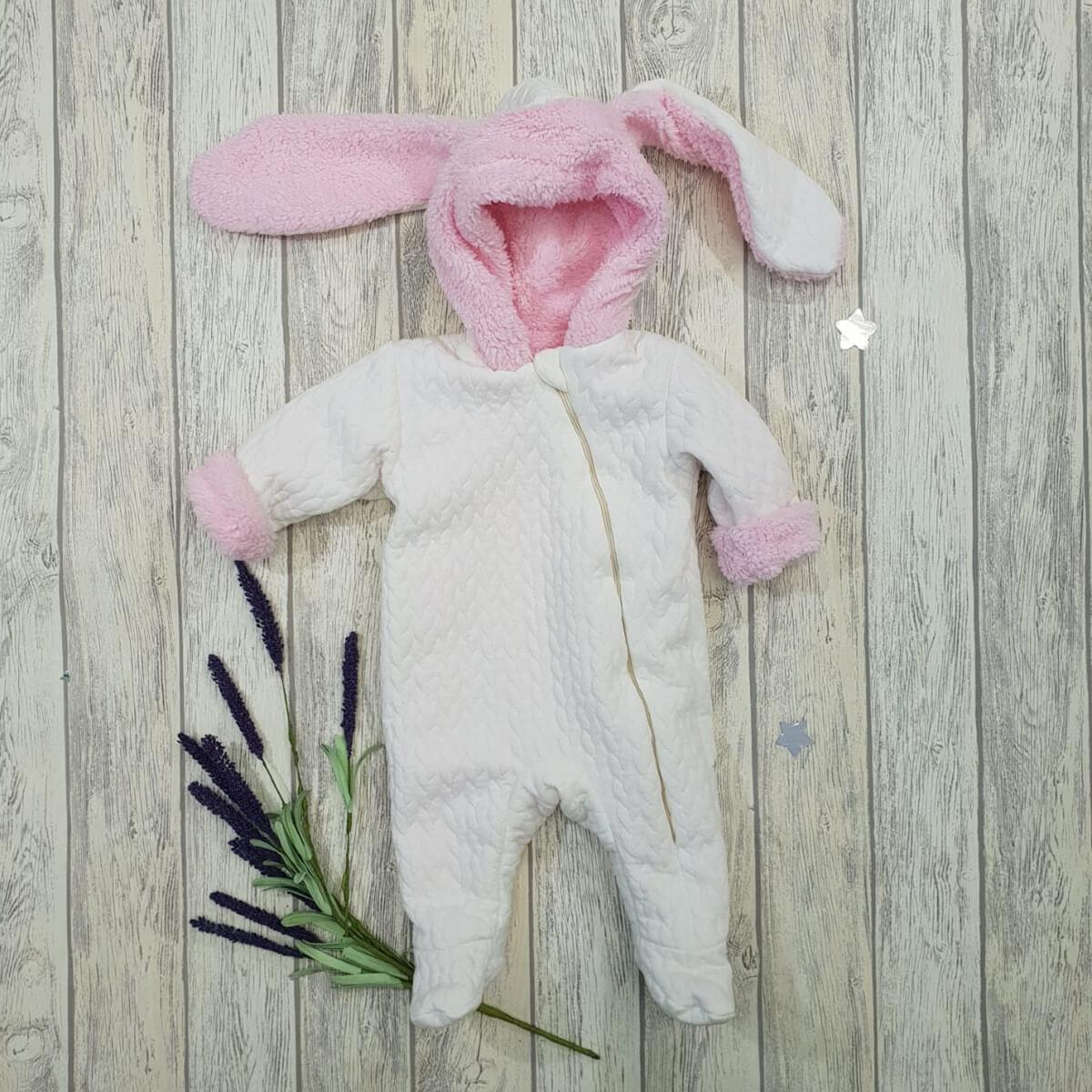 Комбинезон на молнии «Кролик», молочно-розовый