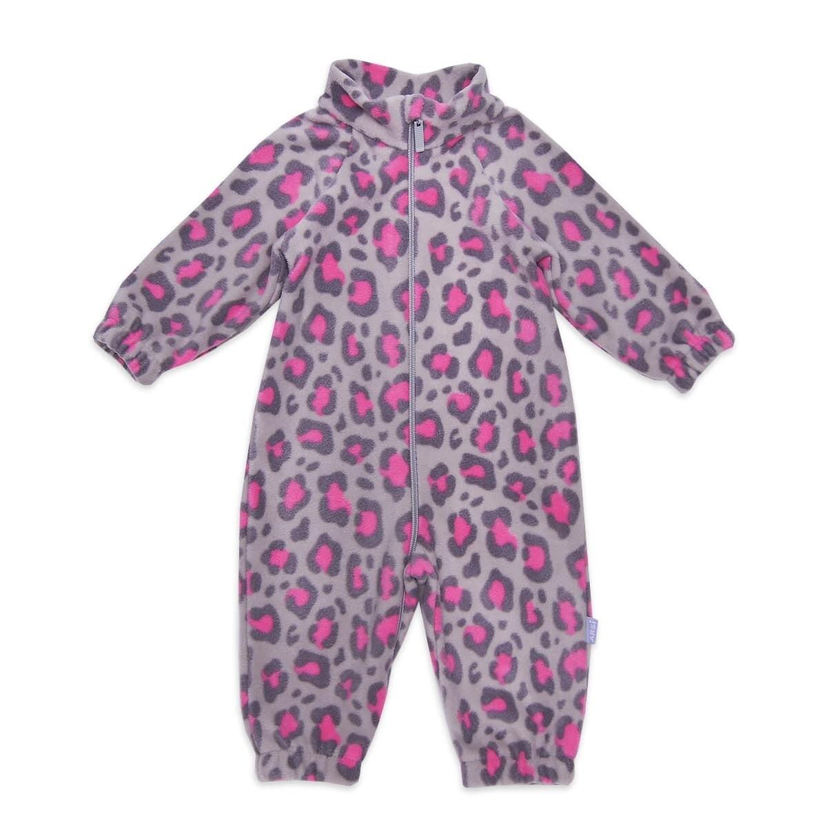 Флисовый комбинезон FLISIK, серо-розовый леопард
