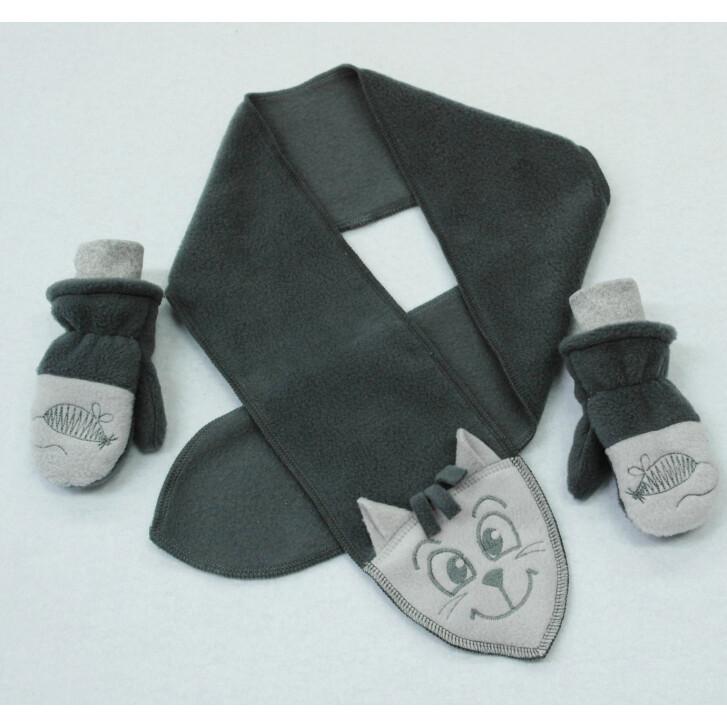 Комплект КОТ, шарфик и рукавички