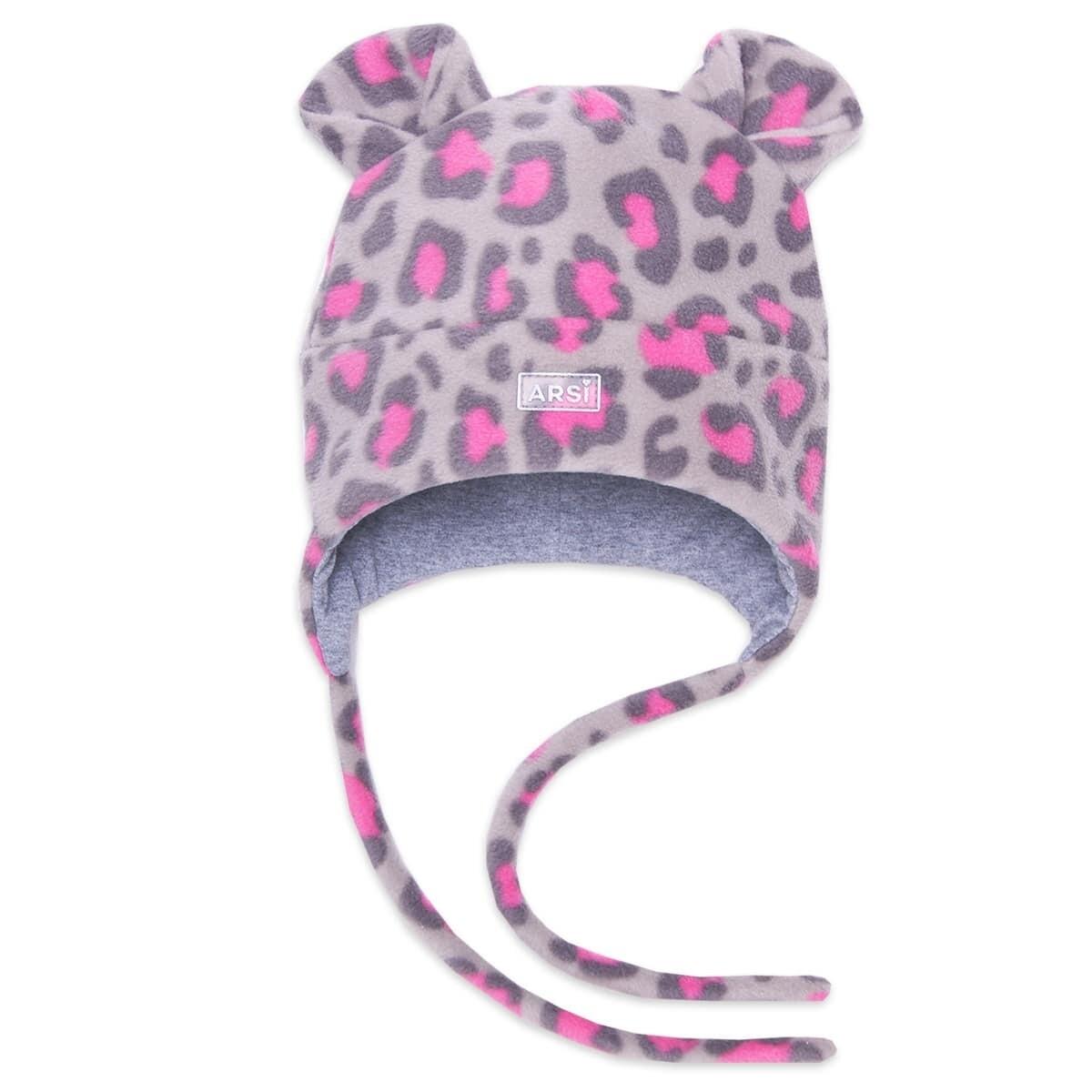 Шапочка LEO, демисезон, серо-розовая леопард