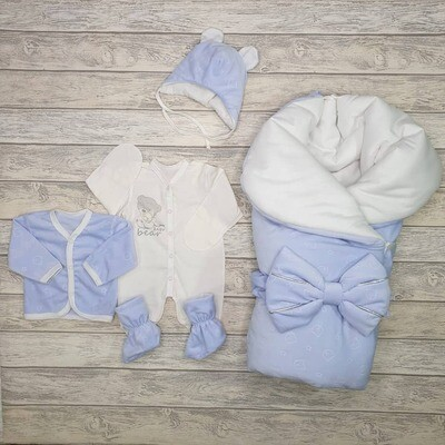 Комплект на выписку «Sweety Teddy», деми, голубой