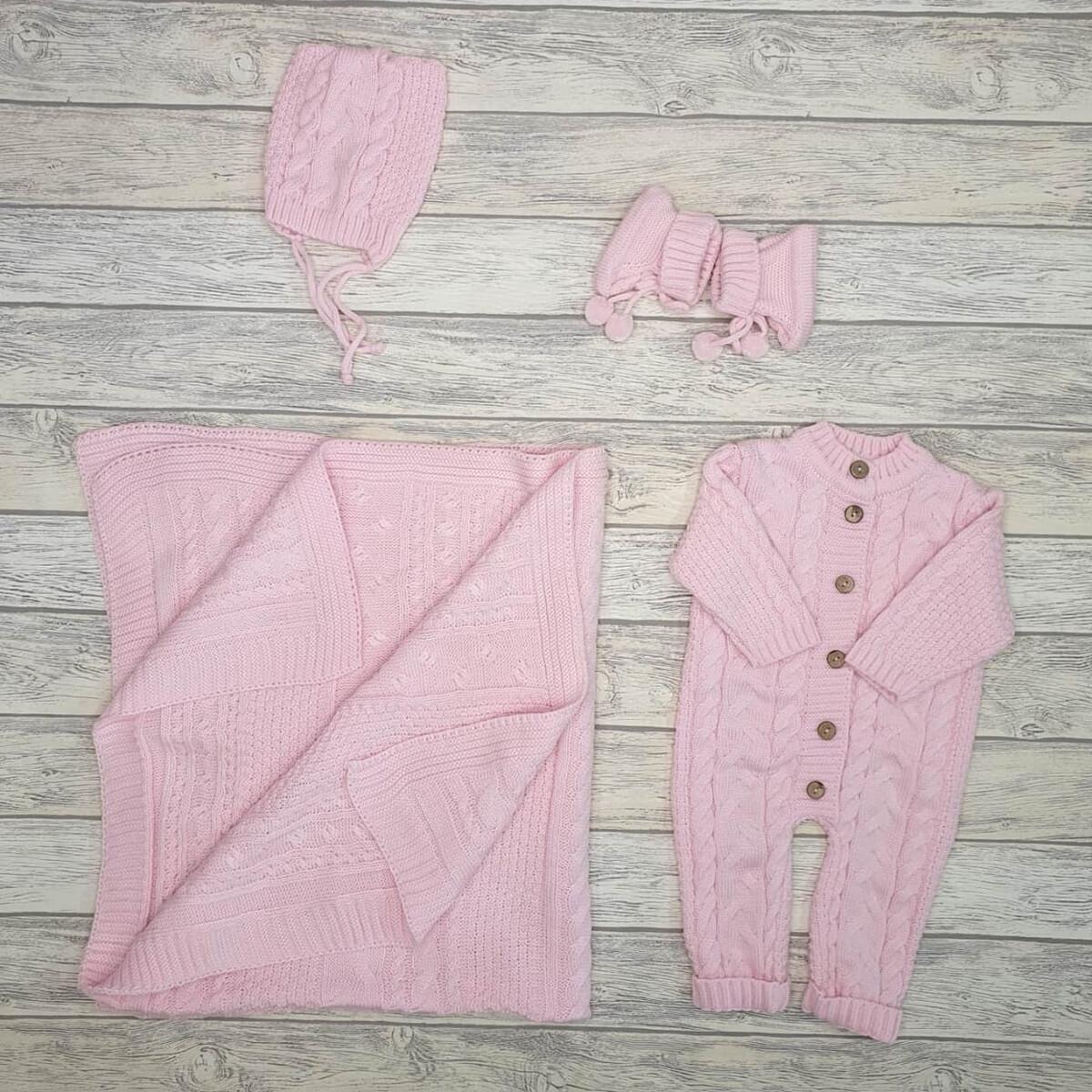 Комплект  на выписку «Косичка», розовый
