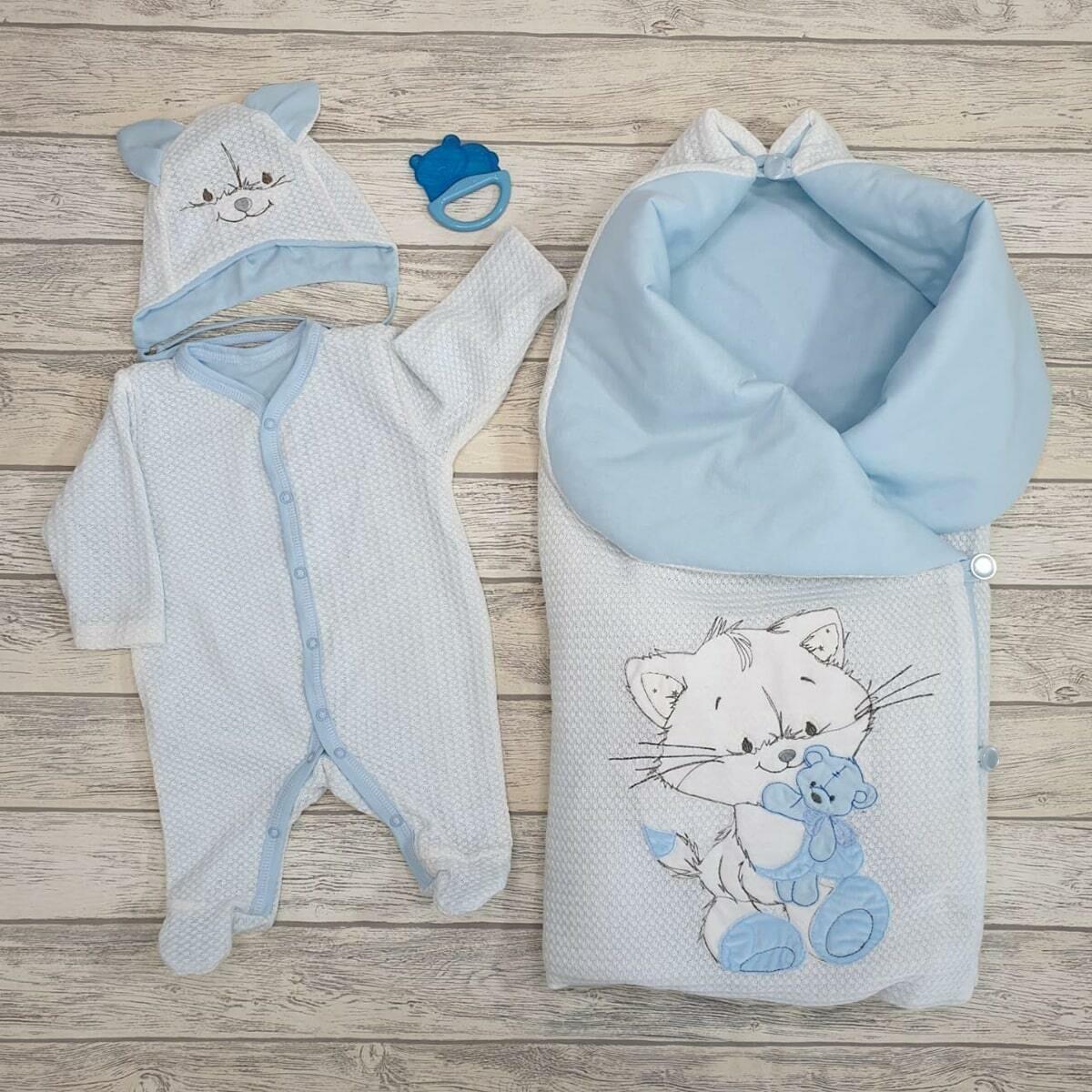 Комплект на выписку «Cute Kitty», (лето/демисезон/зима), голубой