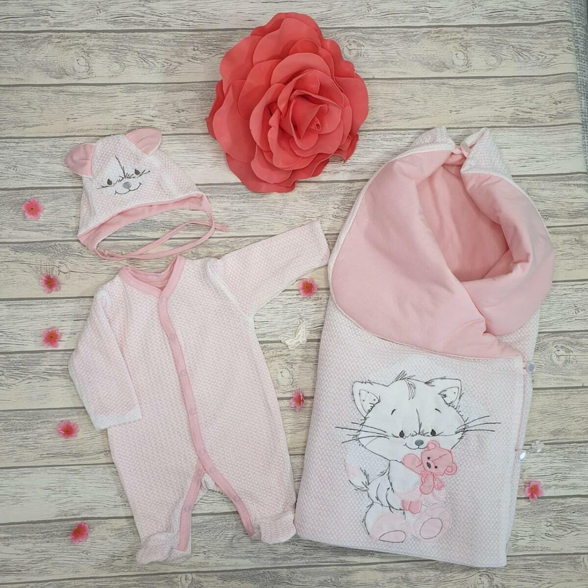 Комплект на выписку «Cute Kitty», (лето/ демисезон/зима), розовый