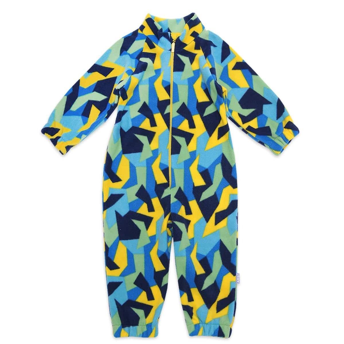 Комбинезон флисовый FLISIK, сине-жёлтая геометрия