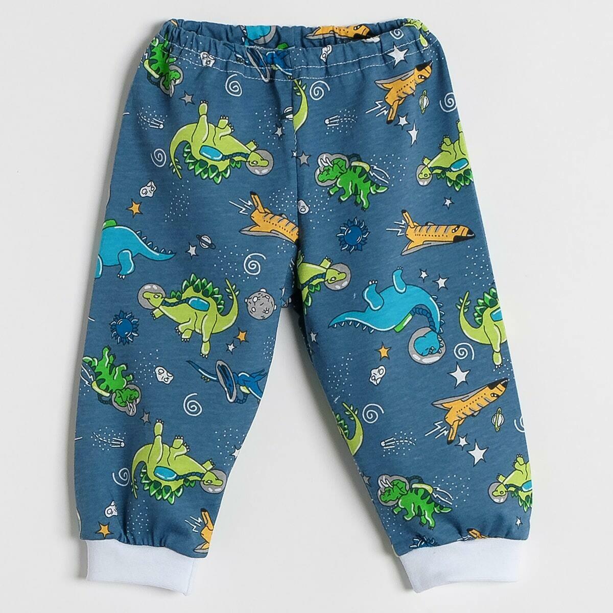 Штанишки на манжетах, тонкий трикотаж, динозавры, синий