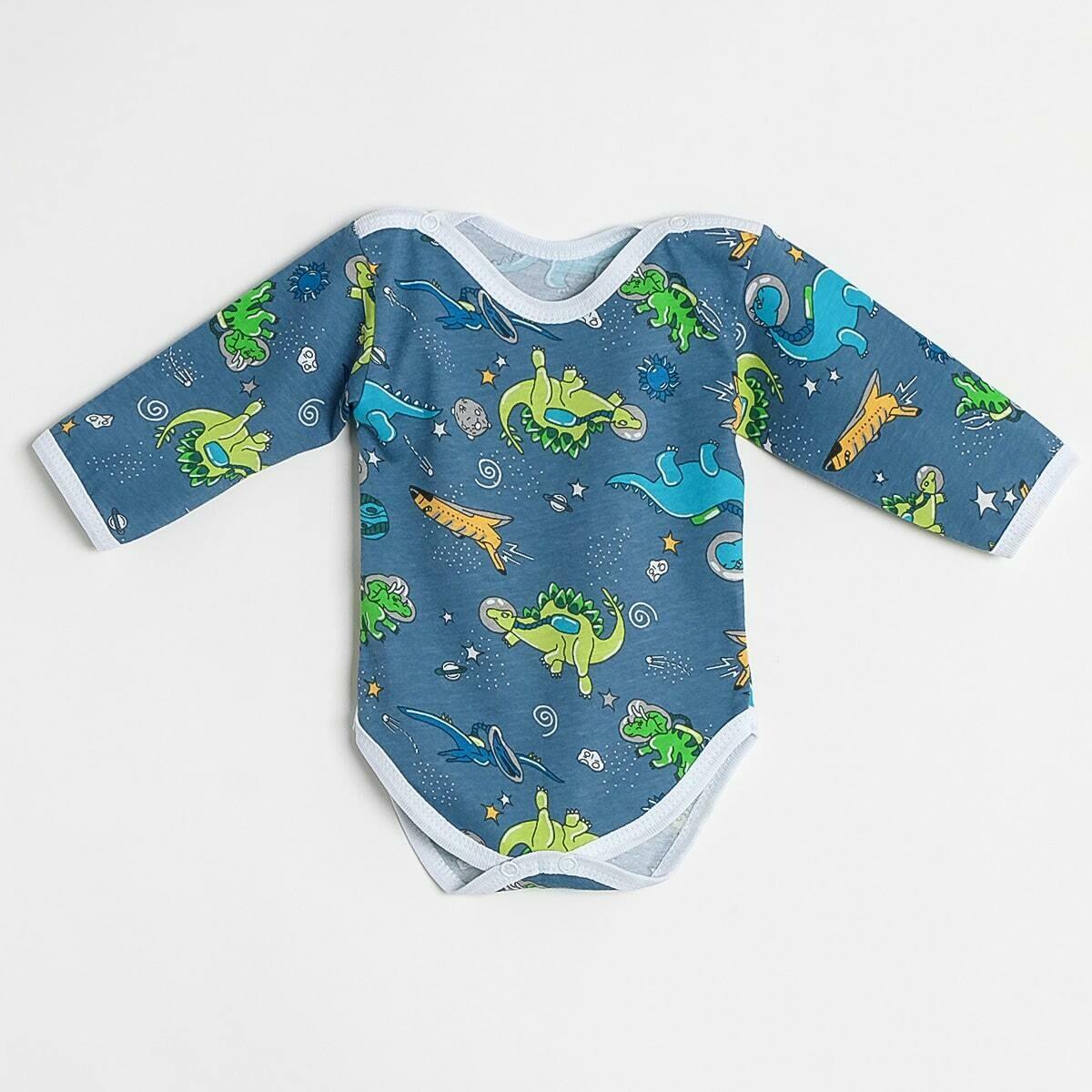 Боди Утёнок, тонкий трикотаж, динозавры, синий