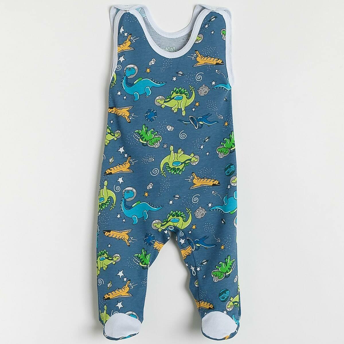 Ползунки ГНОМИК с кнопками под памперс, тонкий трикотаж, динозавры, синий