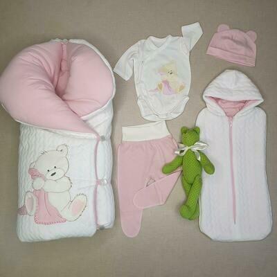 Комплект на выписку «Be-be-Bear» (зима/деми/лето), розовый