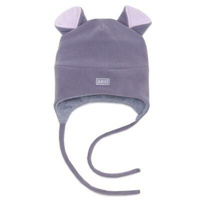 Шапочка утепленная Мышка, демисезон, серый