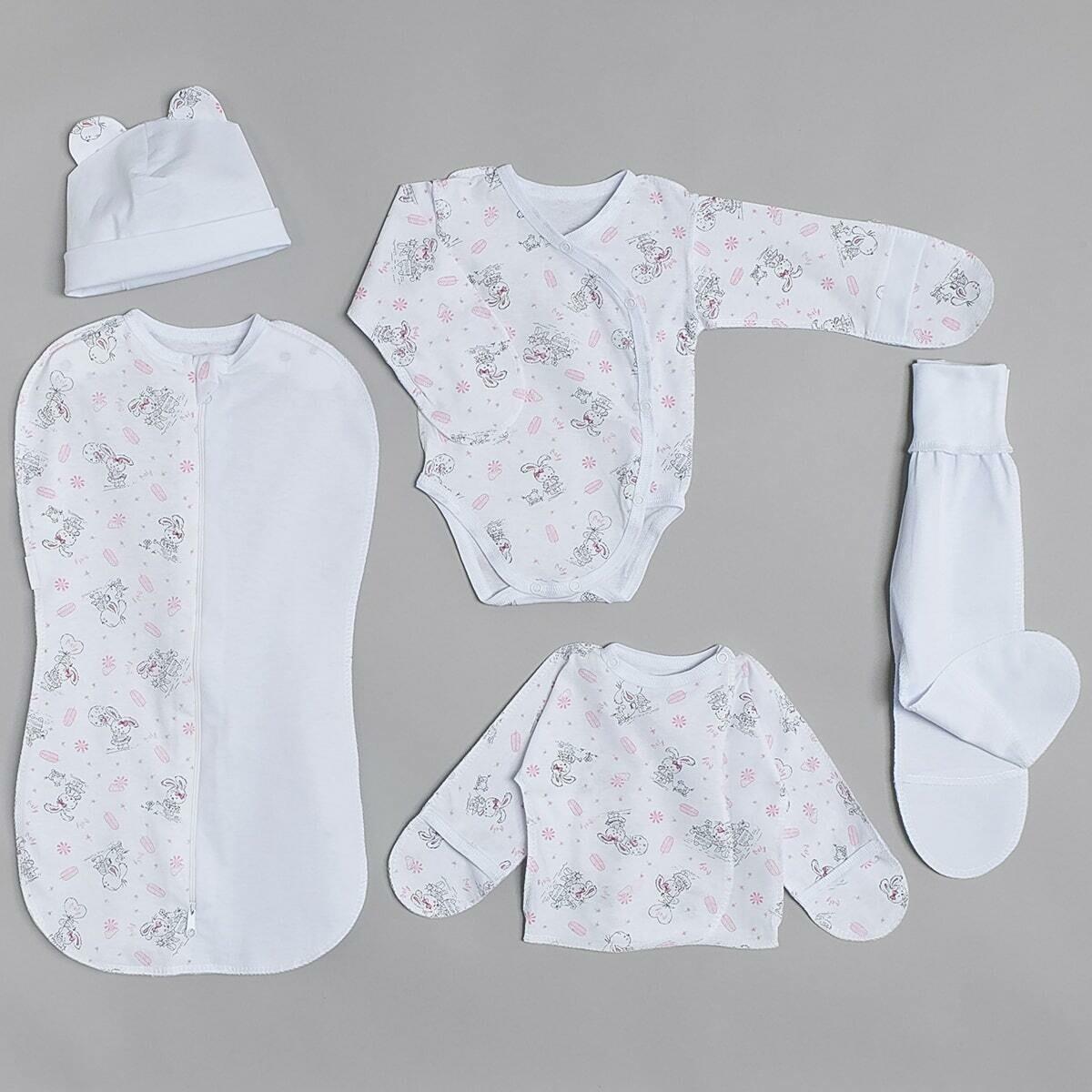 Комплект для малышей трикотажный, розовые зайки