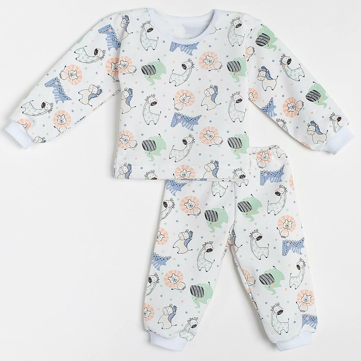 Пижама БЕГЕМОТИК на манжетах, тёплая с начёсом, животные