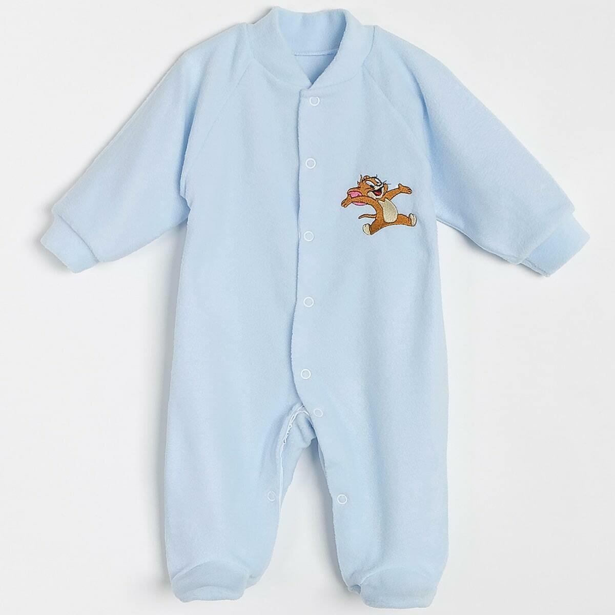 Комбинезон с вышивкой, кнопки под памперс, флис, голубой