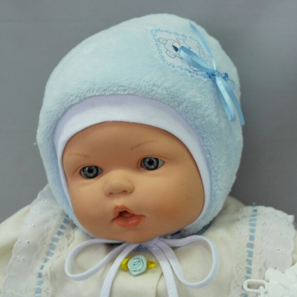 Шапочка для новорожденного мальчика КНОПИК М, голубой