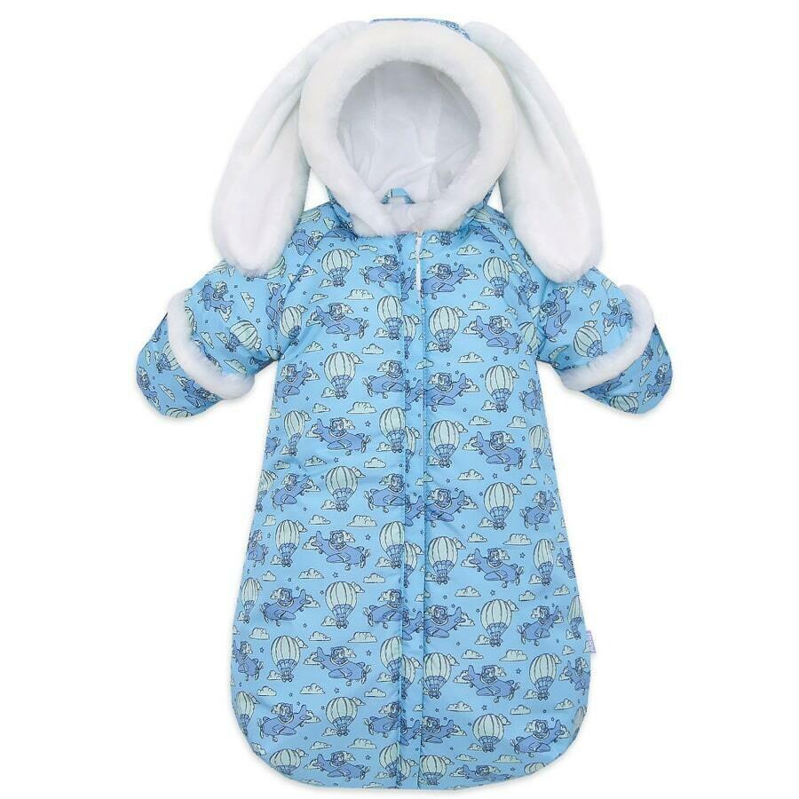 Комбинезон-мешок ЗАЙКА, зима, голубой
