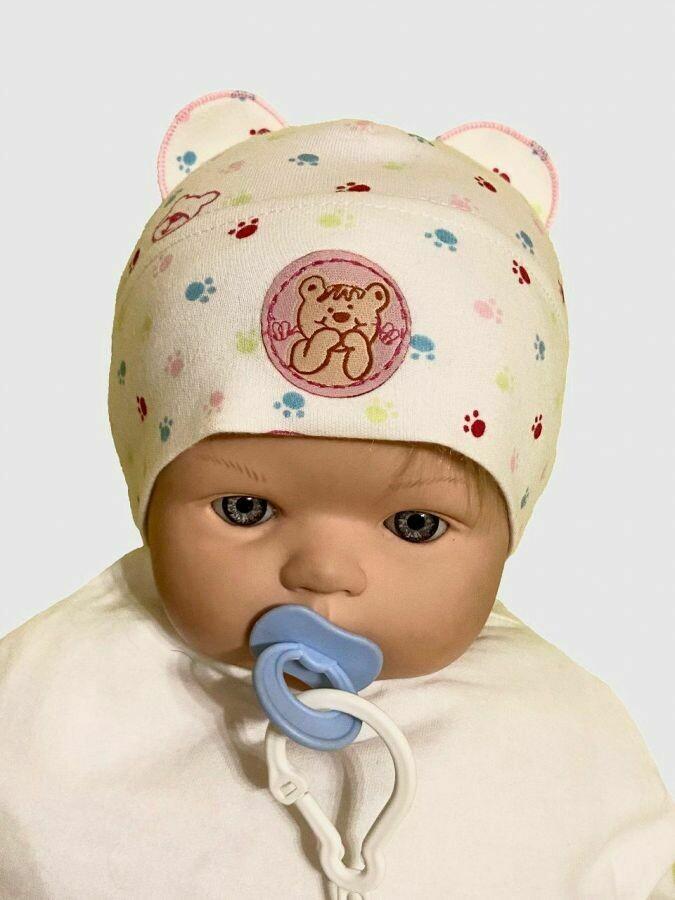 """Шапочка для новорождённого """"Медвежонок"""", светло-розовый"""