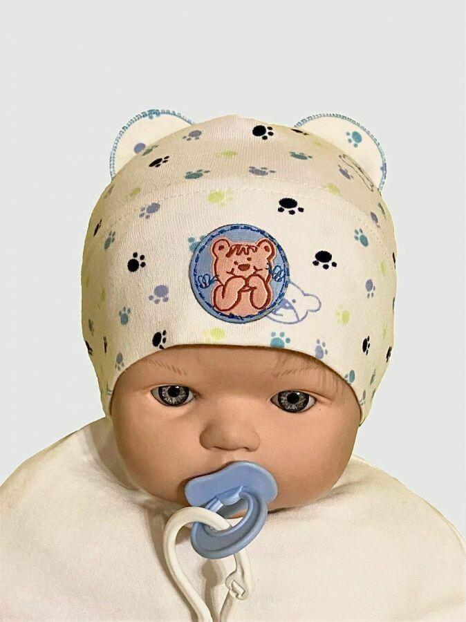 """Шапочка для новорождённого """"Медвежонок"""", голубой"""