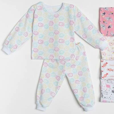 Пижама БЕГЕМОТИК на манжетах, тонкий трикотаж, для девочки в ассорт.