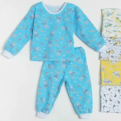 Пижама БЕГЕМОТИК на манжетах, тонкий трикотаж, для мальчика в ассорт.