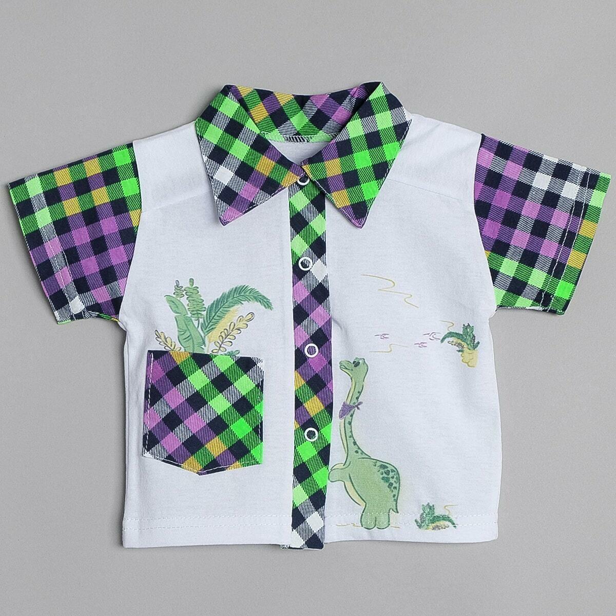 Рубашка с принтом, короткий рукав, сиреневый