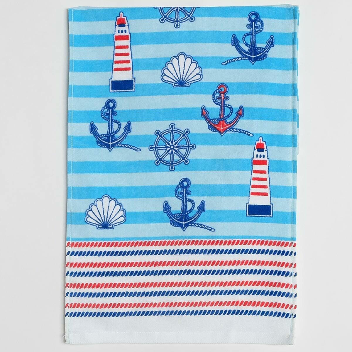 Махровое полотенце, 33*70 см, регата, синий