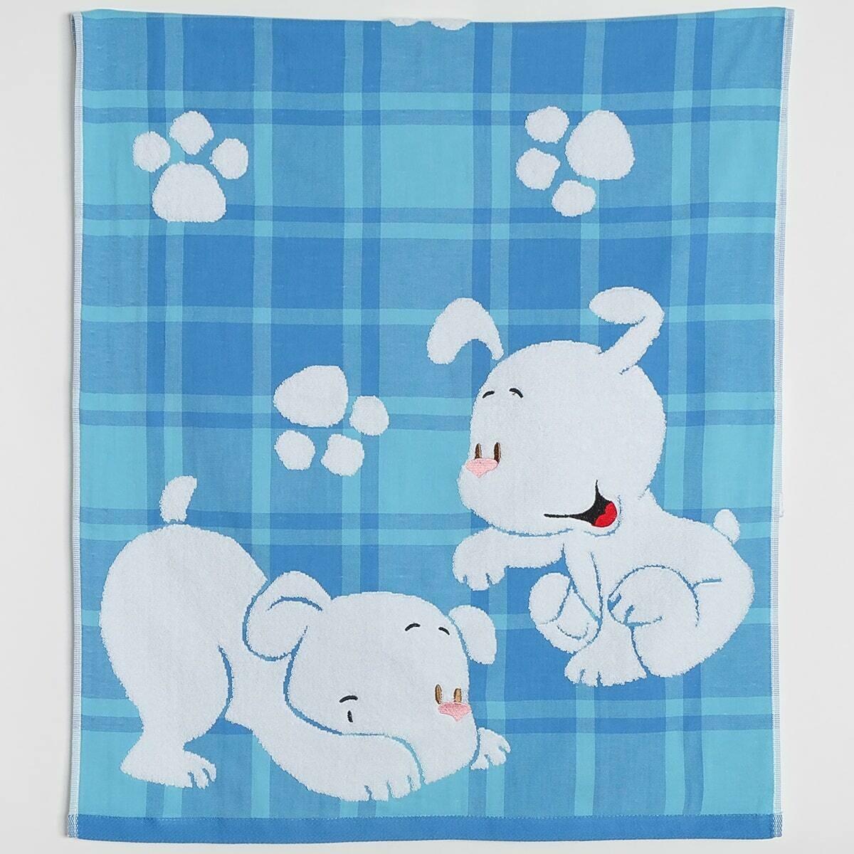 Махровое полотенце, 60*120 см, щенки, голубой