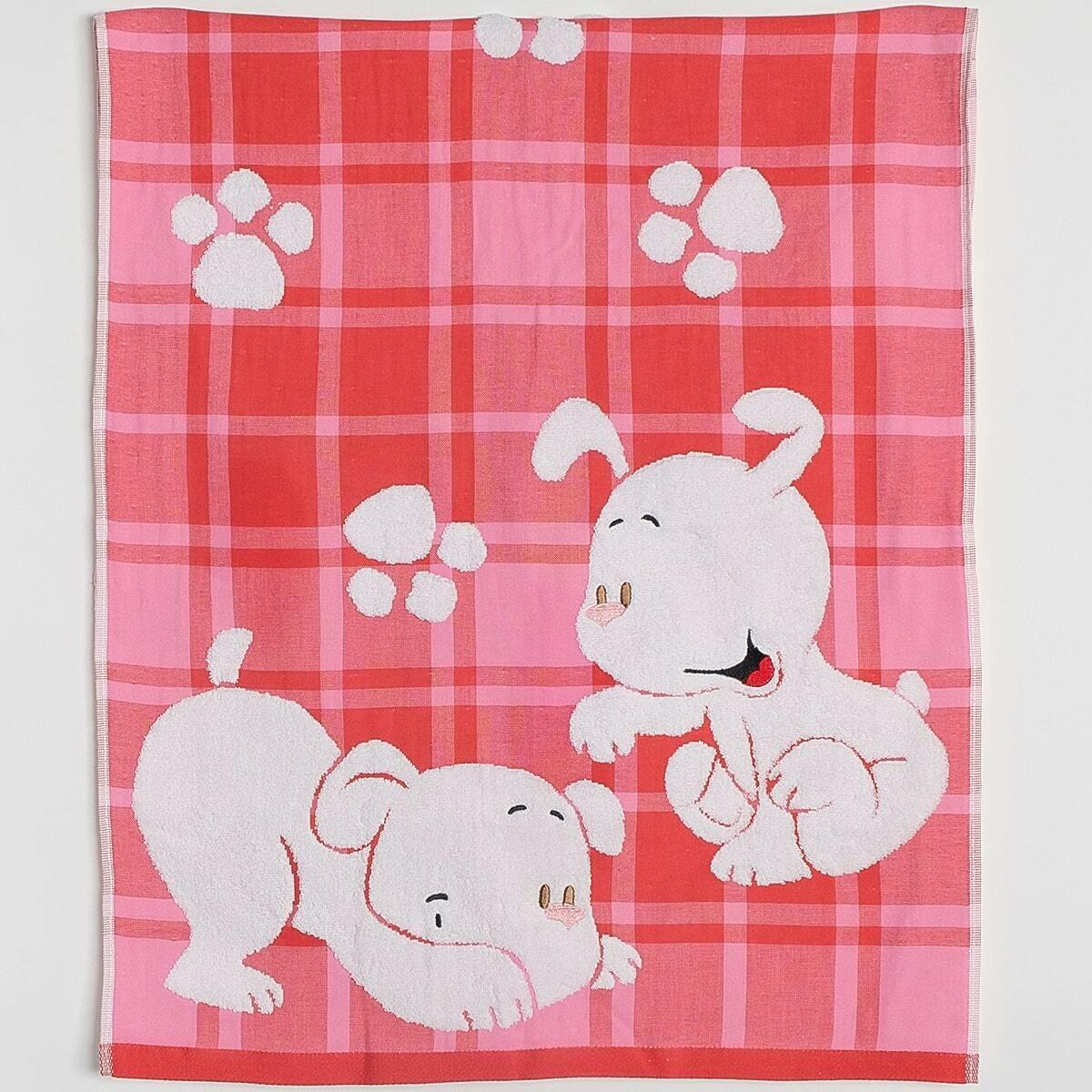 Махровое полотенце, 60*120 см, щенки, розовый