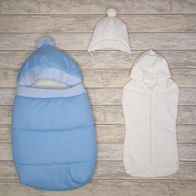 Конверт прогулочный «Дутик», (демисезон/зима), голубой