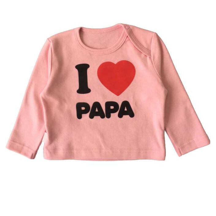 """Футболка с длинным рукавом """"Я люблю папу"""", розовый"""