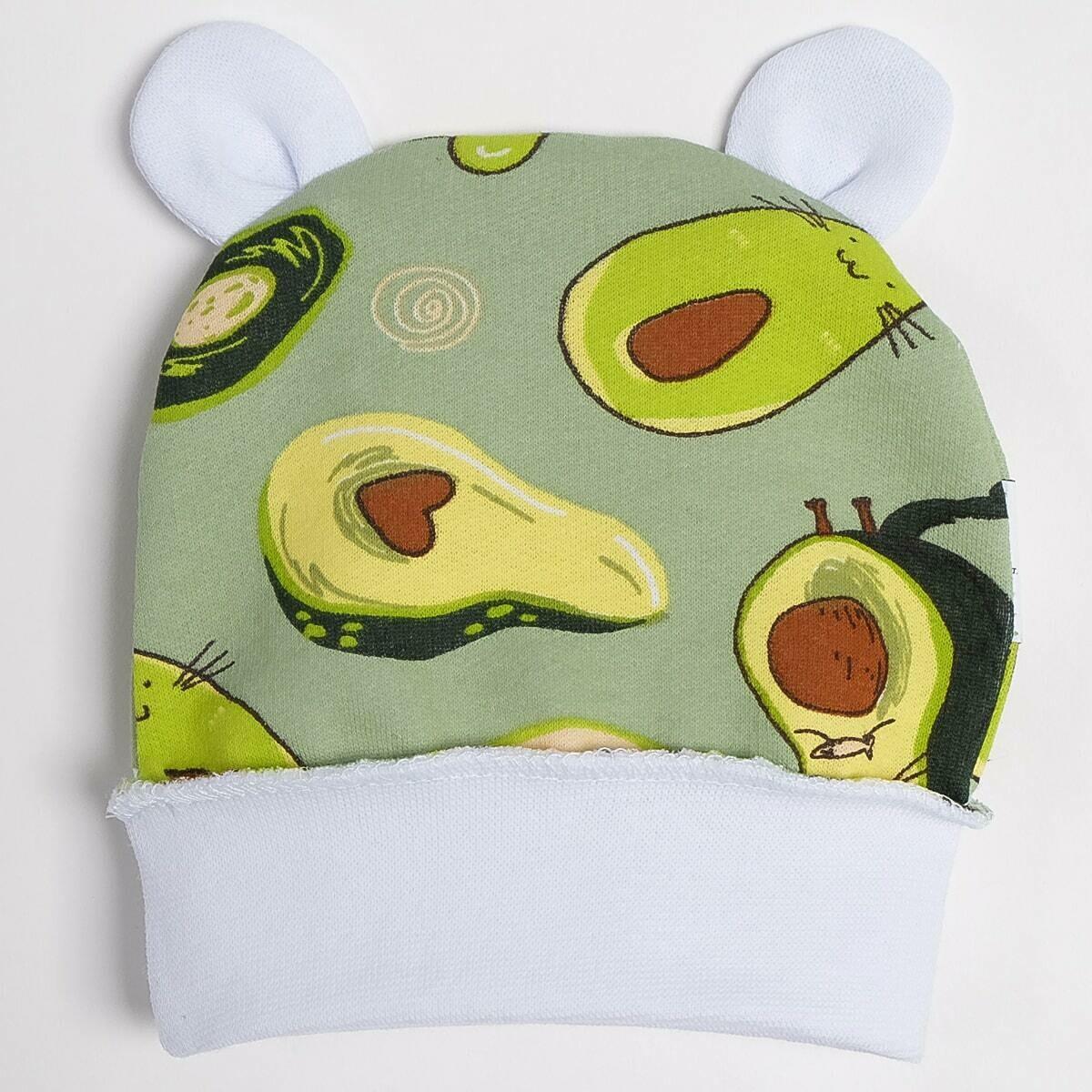 Шапочка с ушками, трикотаж с начесом, авокадо