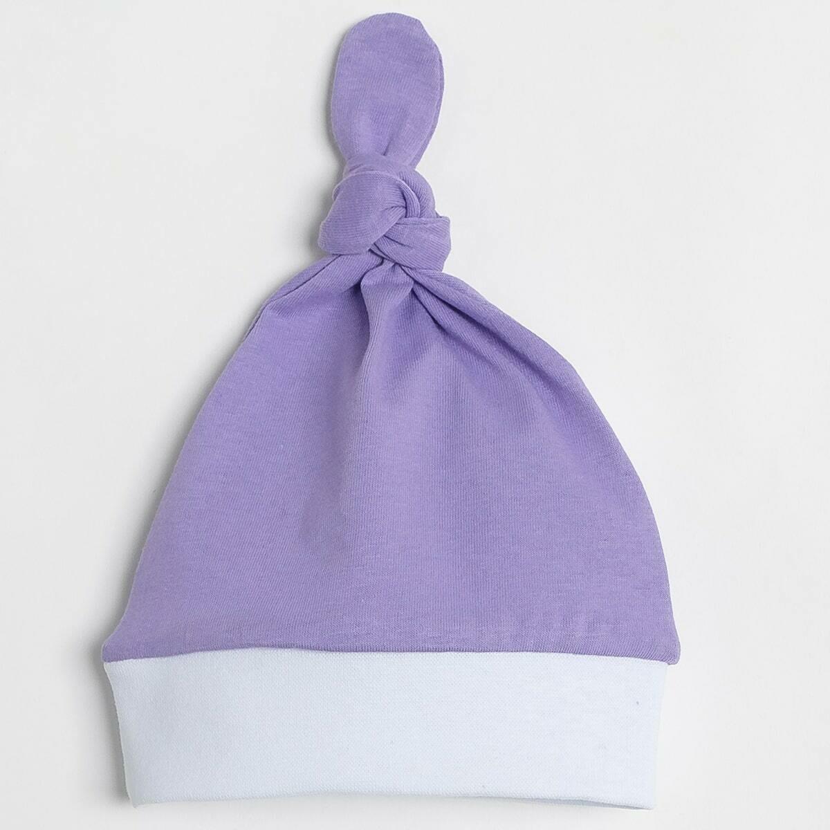 Шапочка с узелком, тонкий трикотаж, фиолетовый