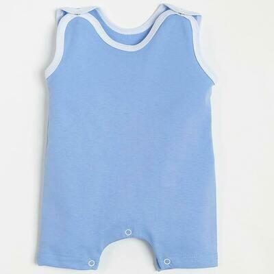 Песочник, кнопки под памперс, тонкий трикотаж, голубой