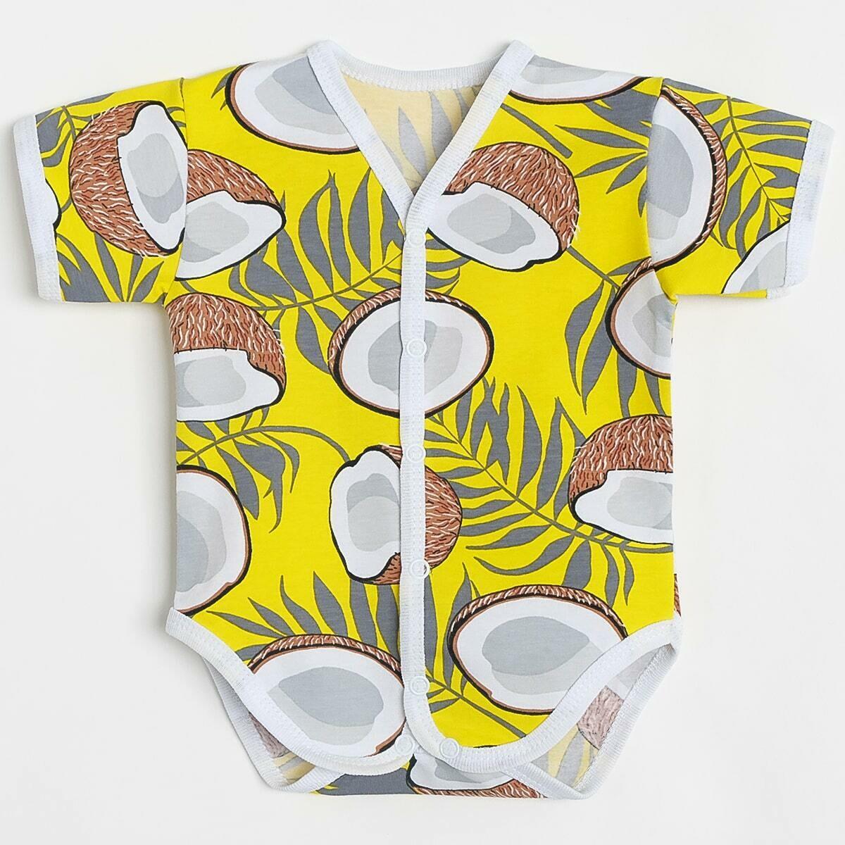 Боди Звёздочка, тонкий трикотаж, кокосы, желтый