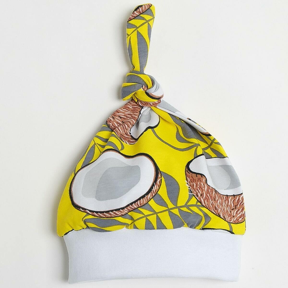 Шапочка с узелком, тонкий трикотаж, кокосы, желтый