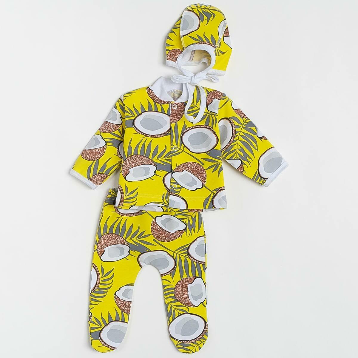 Комплект МАЛЫШ, тонкий трикотаж. кокосы, желтый