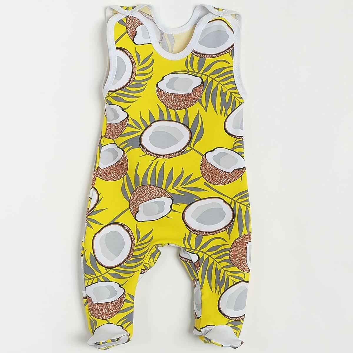 Ползунки ГНОМИК с кнопками под памперс, тонкий трикотаж, кокосы, желтый