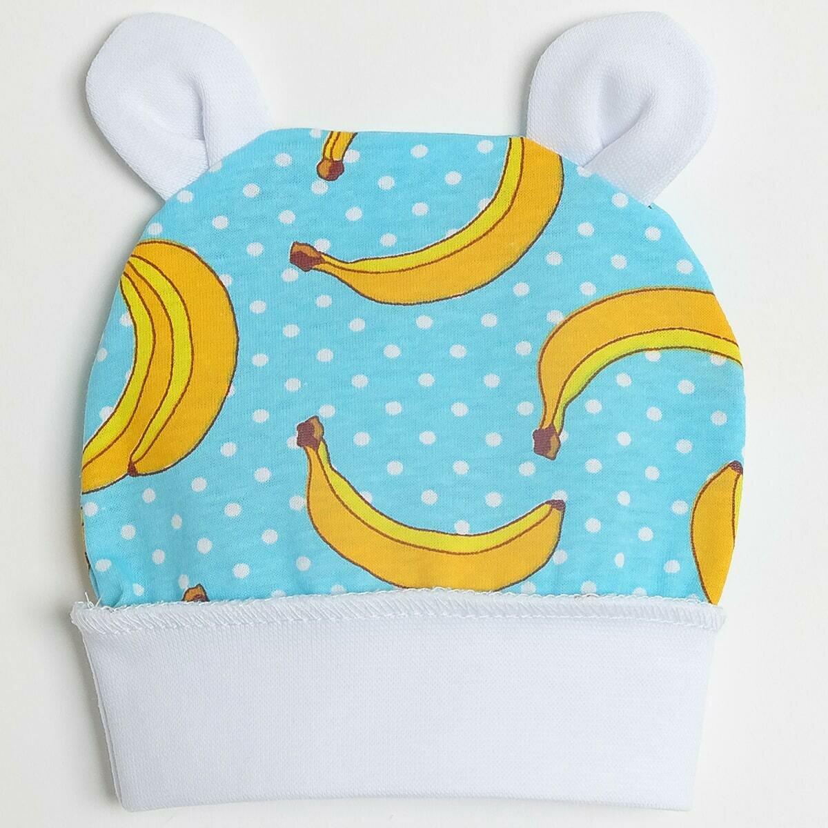 Шапочка с ушками, тонкий трикотаж, бананы