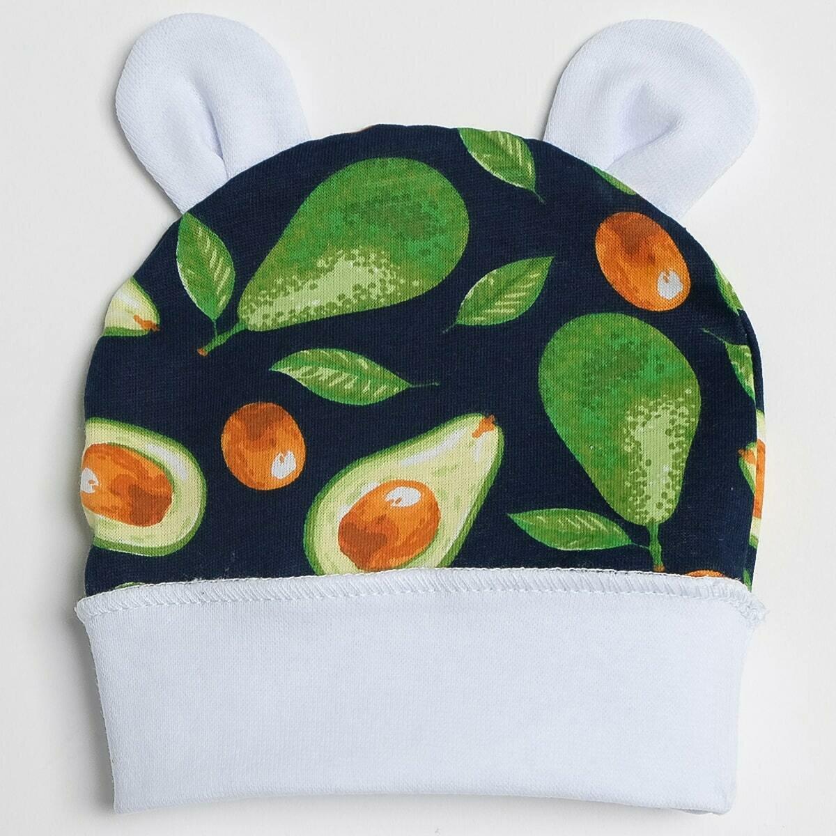 Шапочка с ушками, тонкий трикотаж, авокадо